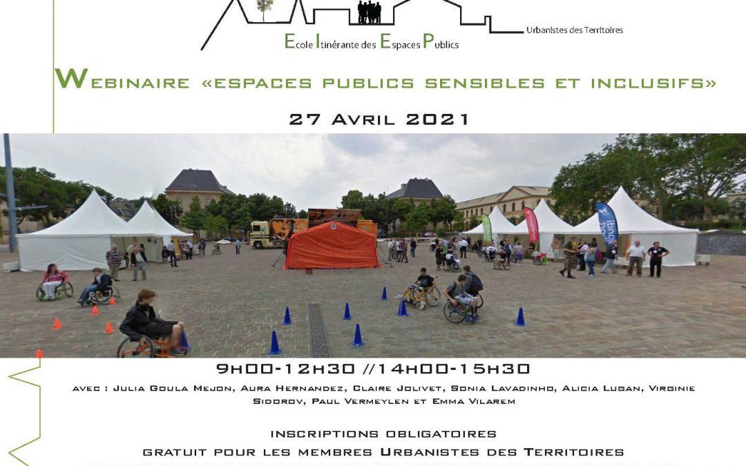 Nouvelle rencontre de l'Ecole Itinérante des Espaces Publics le 27 avril 2021 : Webinaire Espaces publics sensibles et inclusifs