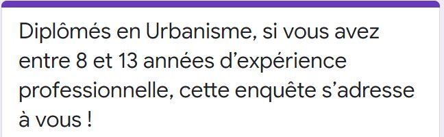 Enquête nationale menée par le CNJU sur les évolutions professionnelles des urbanistes de formation